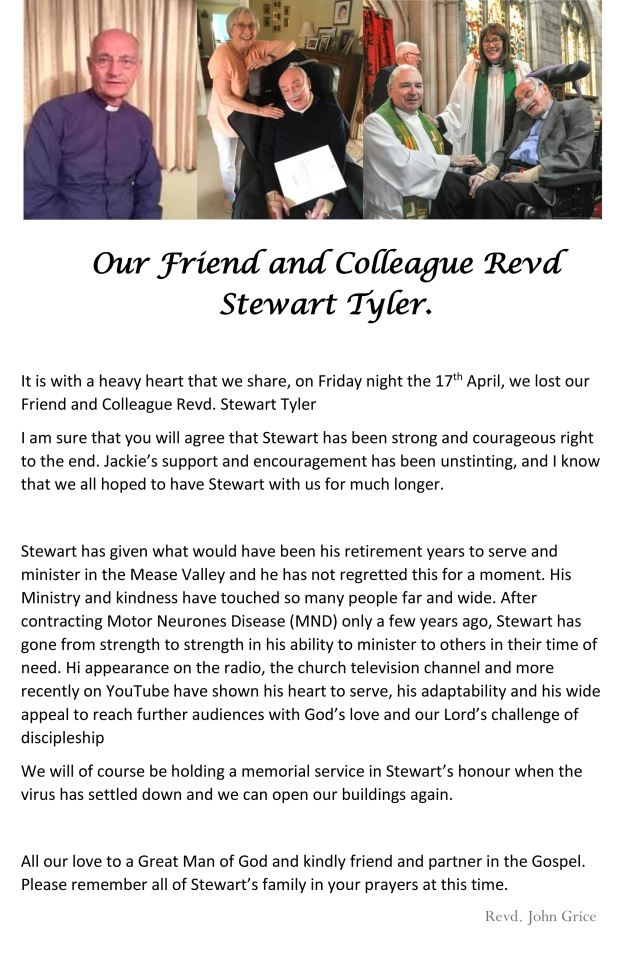 Our Friend and Colleague Revd Stewart Tyler