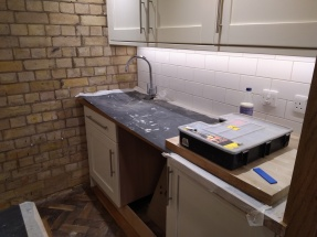 sink and cupboard spaces
